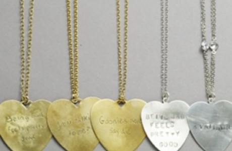Gold Or Silver heart engraved necklace