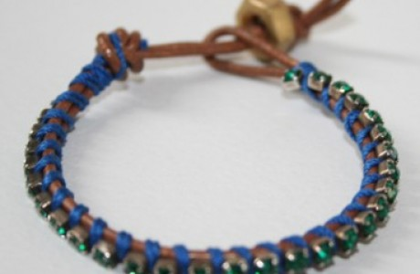 Stackable Bracelet - Green Rhinestone and Copper Leather Wrap