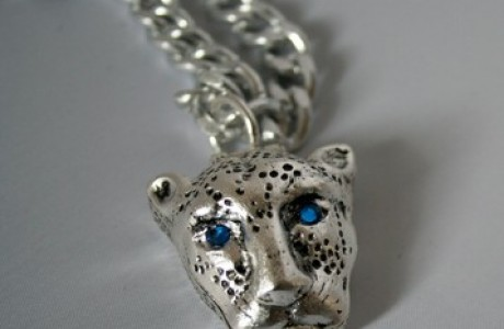 silver Panther Pill Box Necklace