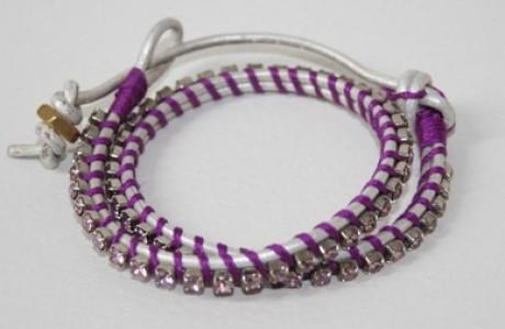 silver leather wrap bracelet