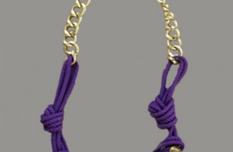 Knotted Gold Stud Necklace - Purple